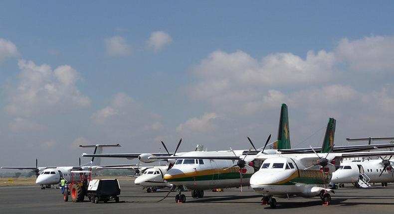Planes parked at wilson airport. (Gorillas & East Africa Safari)