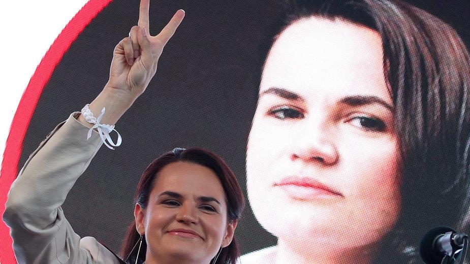Swiatłana Cichanouska w wiecu wyborczym
