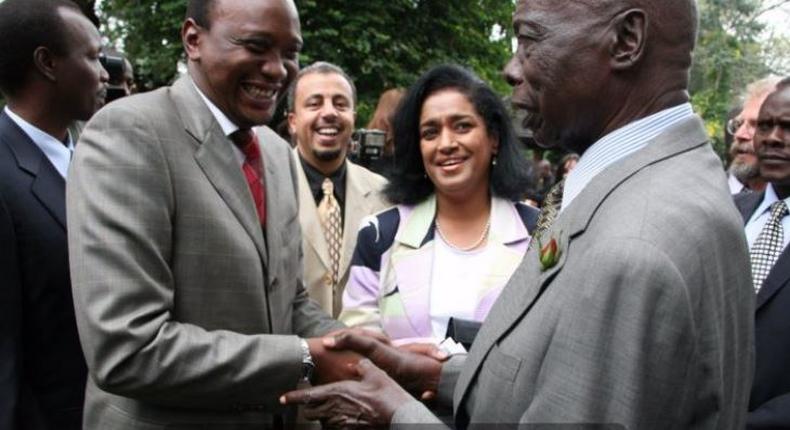 File image of President Uhuru Kenyatta, Esther Passaris with Kenya's second President, Mzee Daniel Moi