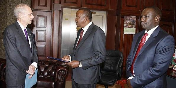 A file photo of President Uhuru Kenyatta and his Deputy William Ruto meeting with United States of America Ambassador Robert Godec. The US envoy was on Thusday criticised over his performance in the past five and a half years