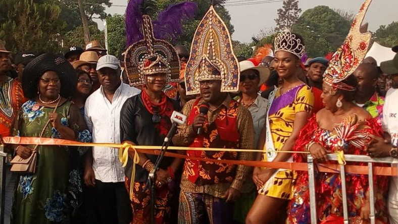 Gov. Ben Ayade of Cross River, wife and other dignitaries at the Carnival
