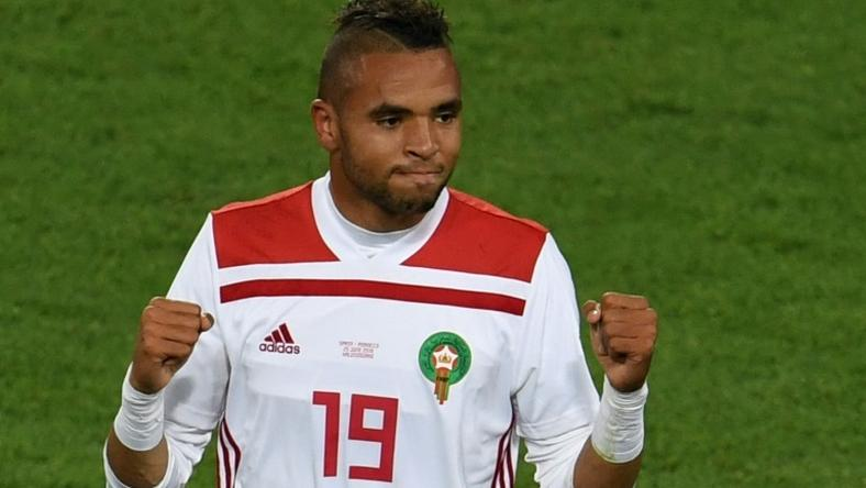 A file picture of Youssef en-Nesyri celebrating his goal for Morocco in a 2018 World Cup draw against Spain. At the weekend, he became the first Leganes footballer to score a La Liga hat-trick
