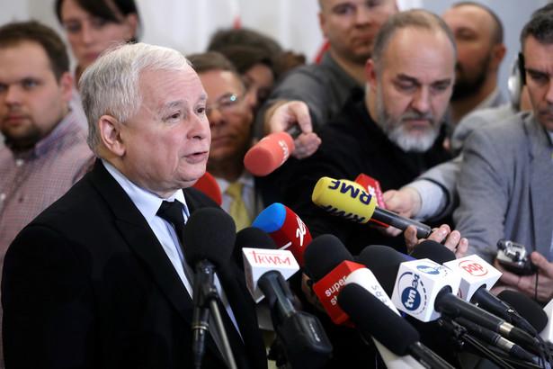 Prezes PiS Jarosław Kaczyński po spotkaniu liderów partii sejmowych z marszałkiem Senatu.