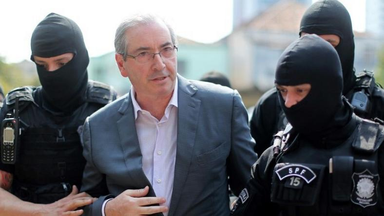 Brazil's former President of the Chamber of Deputies Eduardo Cunha, arrives at the Forensic Medicine Institute in Curitiba, on October 20, 2016