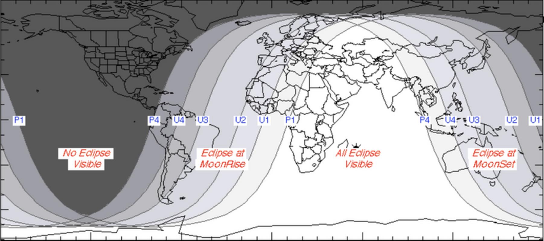 Mapa dot. widzialności całkowitego zaćmienia Księżyca. Im jaśniejszy kolor, tym więcej mogą zobaczyć mieszkańcy danego regionu
