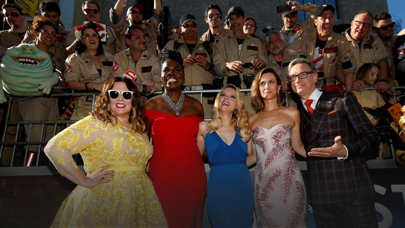 "Director Feig poses with cast members McCarthy, Jones, McKinnon and Wiig pose at the premiere of the film ""Ghostbusters"" in Hollywood"