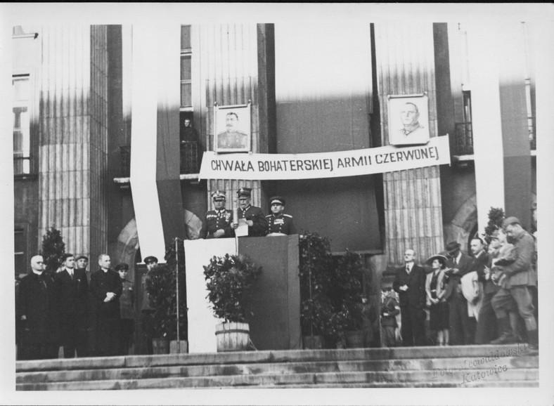Uroczystość z okazji wyzwolenia Katowic, 4 lutego 1945 r. (ze zbiorów MHK)