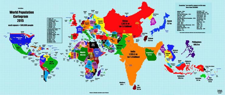 mapa sveta drzave Kada bi veličina države odgovarala broju stanovnika, svet bi  mapa sveta drzave