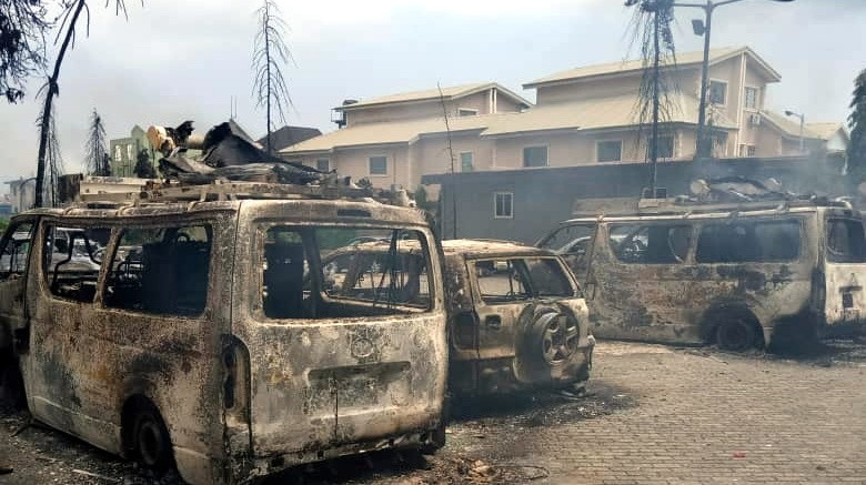 Over 40 vehicles were set ablaze by angry mob at TVC (Premium Times)