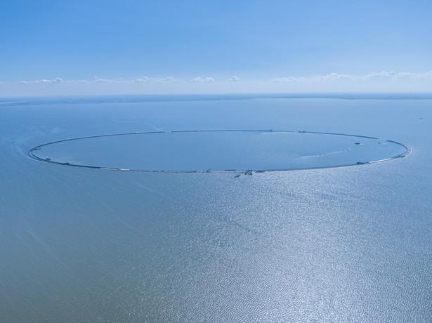 Przekop Mierzei Wiślanej - budowa sztucznej wyspy na Zalewie Wiślanym, źródło: Grupa NDI / BESIX