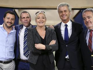 Salvini of Italy's Lega Nord party, Vilimsky of Austria's Freedom Party, Le Pen of France's National