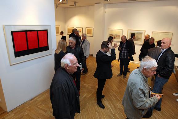 Radomir Damnjanović Damnjan, sa otvaranja izlozbe njegovih radova u Arte Galeriji