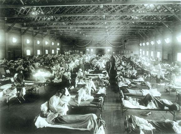 Španska groznica, prizor iz vojne bolnice