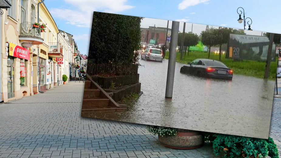 Nowosądeckie ulice po raz kolejny zalała woda fot. Facebook/Sądeckie drogi