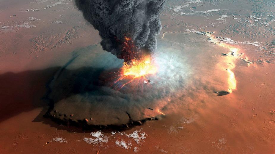 Artystyczna wizja erupcji Olympus Mons – największego wulkanu Marsa i całego Układu Słonecznego.