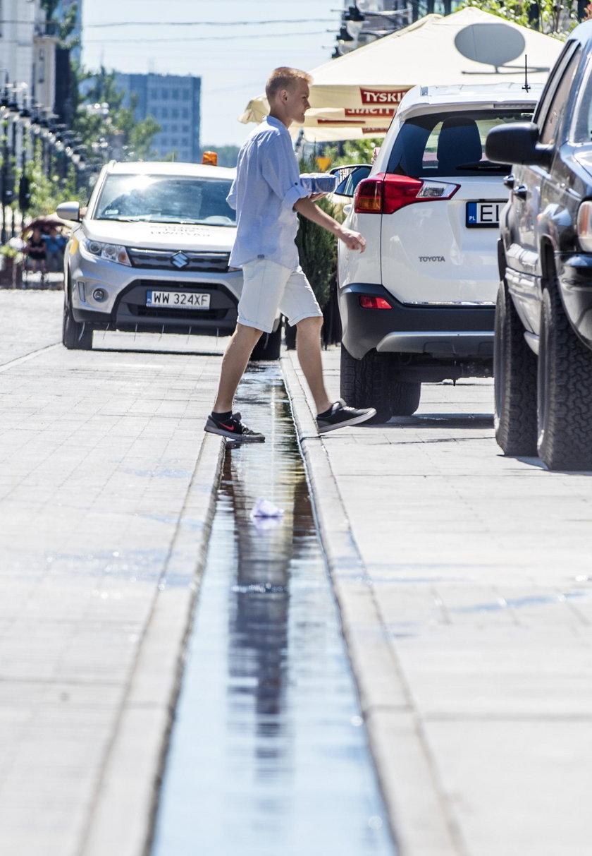 Na ulicy Piotrkowskiej na jeden dzień pojawił się skromny strumyk