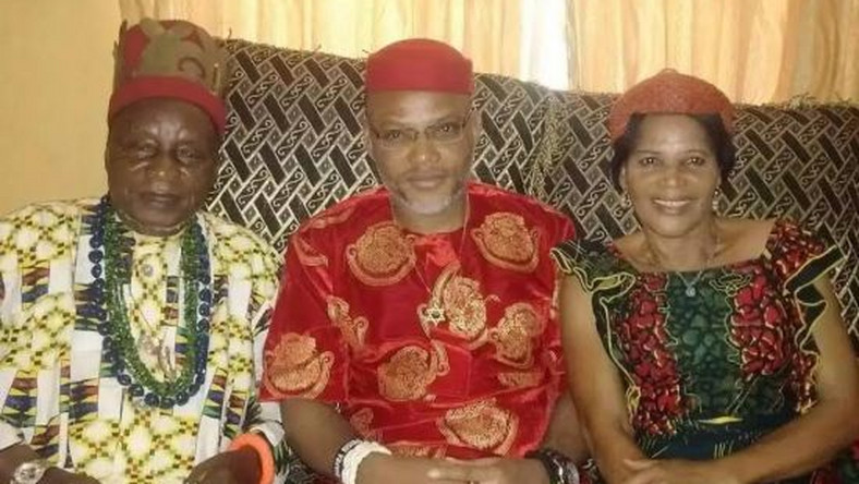 Nnamdi Kanu meets parents after his release from Kuje Prison (Oriental Times)
