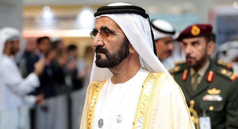 Dubai's Ruler Sheikh Mohammed bin Rashid al-Maktoum, Prime Minister and Vice-President of the United Arab Emirates attends the International Defence Exhibition & Conference (IDEX) in Abu Dhabi, United Arab Emirates February 17, 2019.