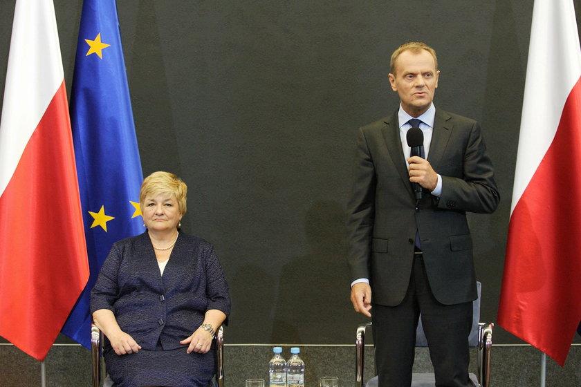 Elżbieta Gelert i Donald Tusk