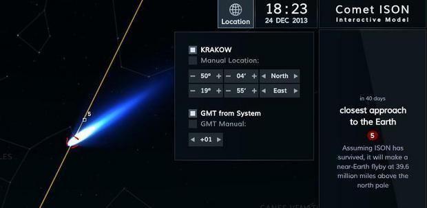 Widok komety z Krakowa, 24 grudnia. O ile kometa przetrwa słoneczne zbliżenie