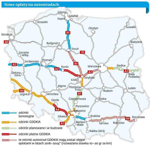 Austostrady w Polsce - mapa