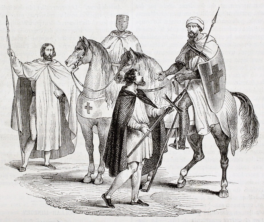 Templariusze, francuska rycina z roku 1844