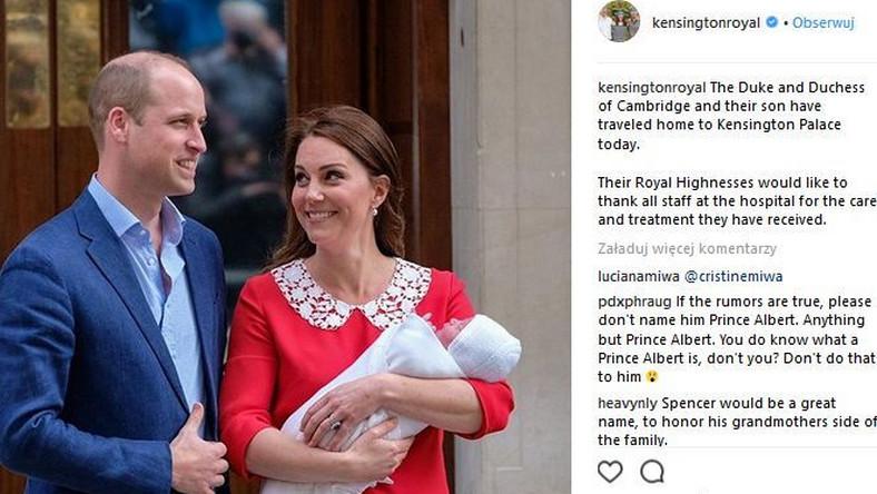 Księżna Kate, książę William i Louis Arthur Charles