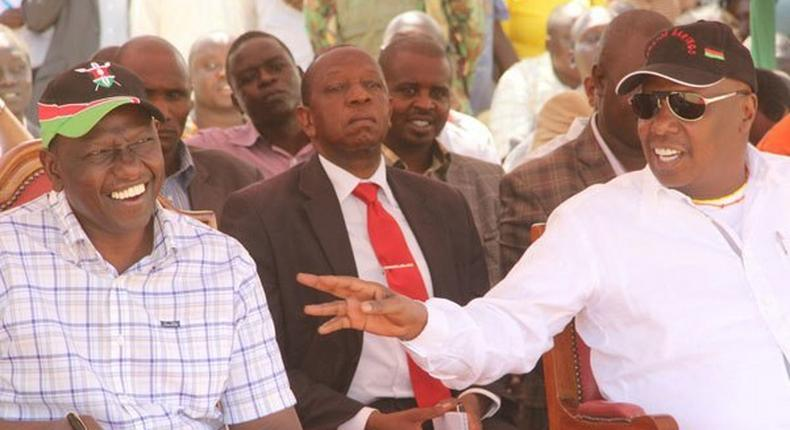 Deputy President William Ruto ( left) and Baringo Senator Gideon Moi during the Kimalel Baringo County goat auction on December 20, 2014.