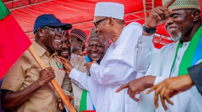 President Muhammadu Buhari has heaped praises on the National Chairman of the All Progressive Congress Comrade Adams Oshiomhole for his purposeful and tenacious leadership [adelove]