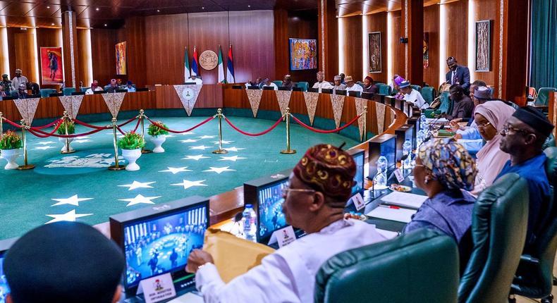 President Muhammadu Buhari presides over the Federal Executive Council meeting [Twitter/@BashirAhmaad]