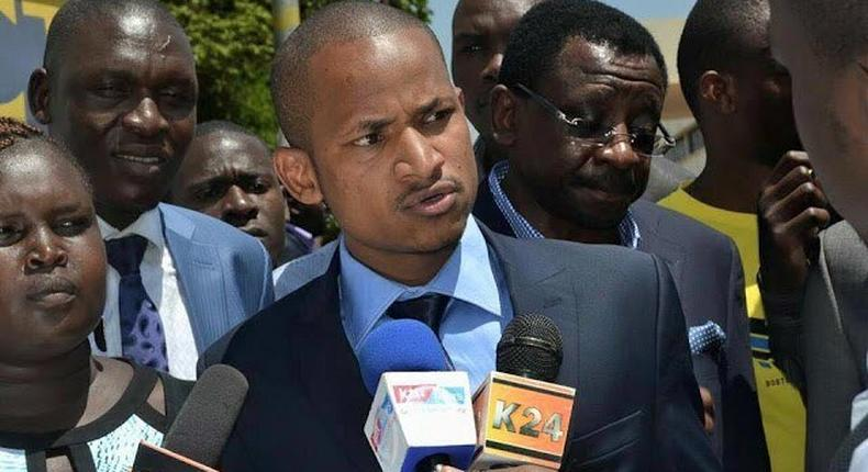 File image of Embakasi East MP Babu Owino addressing the press flanked by other leaders