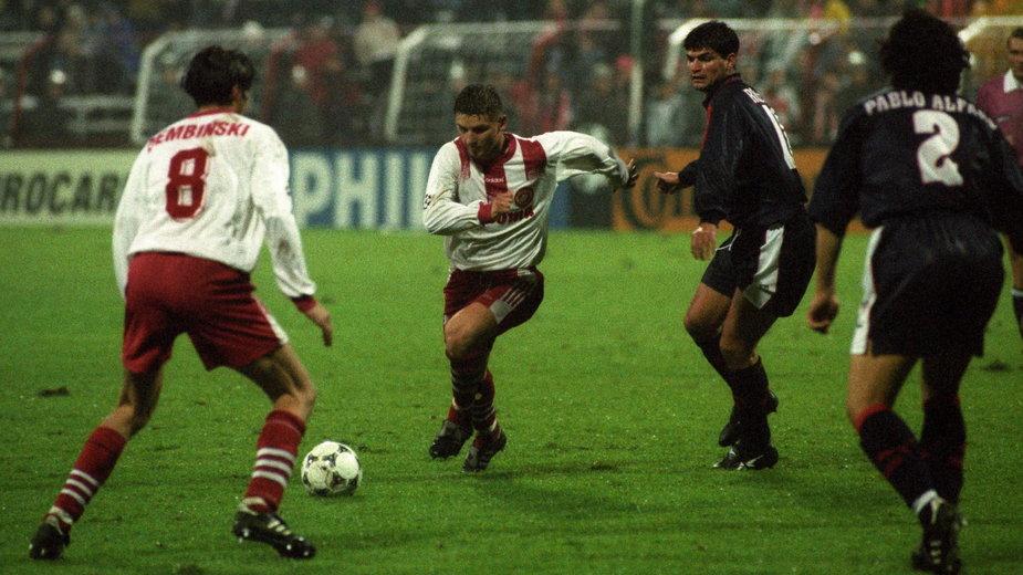 Marek Citko w barwach Widzewa Łódź podczas meczu z Atletico Madryt