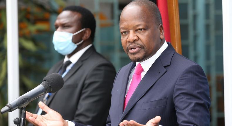 Health CS Mutahi Kagwe during a past Covid-19 press update