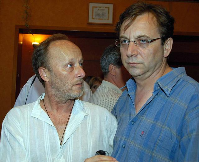 Sa Tihomirom Stanićem posle predstave u Ateljeu 212