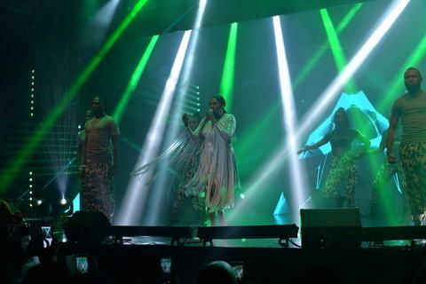 Waje performing at her Red Velvet concert