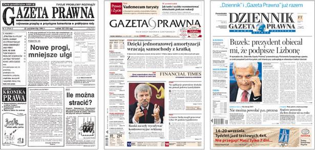 Okładki Gazety Prawnej na przestrzeni lat. Fot. DGP