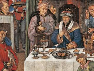 The month of January: Rich man's banquet, miniature from the Grimani Breviary manuscript, folio 1 ve