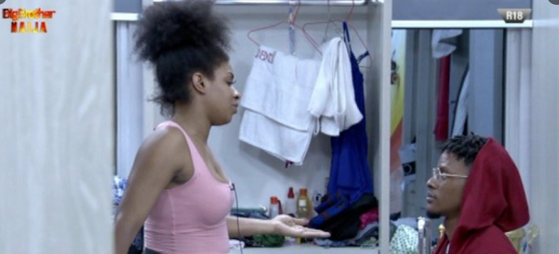 Venita thanks Elozonam, who saved her from being up for eviction and replaced her with Frodd. [Twitter/BBNaija]