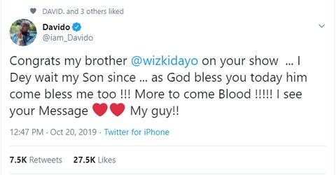 Davido congratulates Wizkid on the success of his massice music festival, 'Starboy Fest'