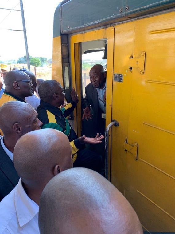 President Cyril Ramaphosa on a cummuter train