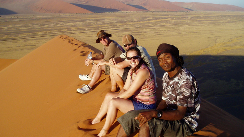 Group of travellers in Windhoek [Africa travel co]