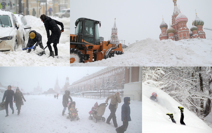 moskva sneg kolaž