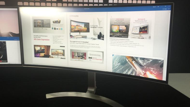 Oto największy monitor o proporcjach 21:9, rozdzielczości 3440:1440 i matrycy IPS. Koncern LG, który pokazał ten ekran na targach IFA zapewnia, że jest to idealny monitor do pracy na dużym ekranie. Niestety zarówno czas reakcji, jak i brak technologii G-Sync czy Freesync sprawiają, że nie będzie się nadawał do wszystkich gier.