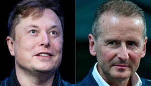 Tesla CEO Elon Musk, left, and Volkswagen CEO Herbert Diess.