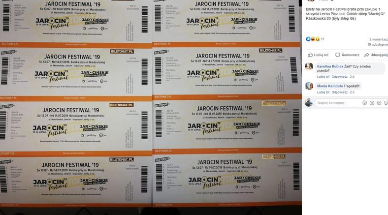 Bilety na Jarocin gratis za kupno skrzynki piwa / screen