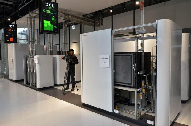 Toshiba w 2015 roku pokazała swoje urządzenia, produkujące wodór metodą elektrolizy wody