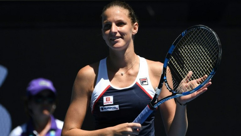 Czech Republic's Karolina Pliskova celebrates after beating Russia's Anna Blinkova in their Australian Open second round match, in Melbourne, on January 19, 2017