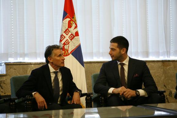 Predsednik IAAF-a Sebastijan Kou i ministar omladine i sporta Vanja Udovičić