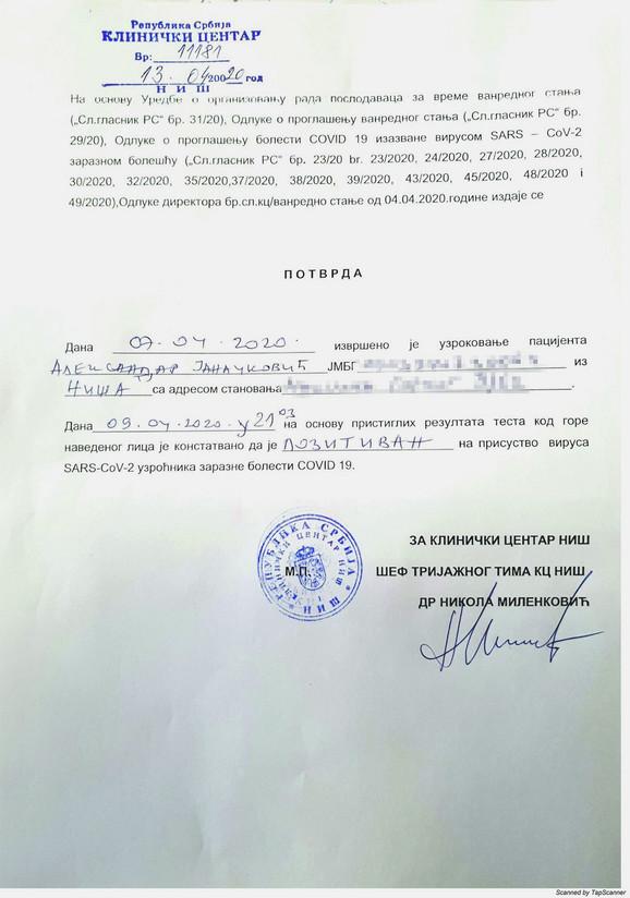Potvrda o testiranju na virus koronu Aleksandra Janačkovića