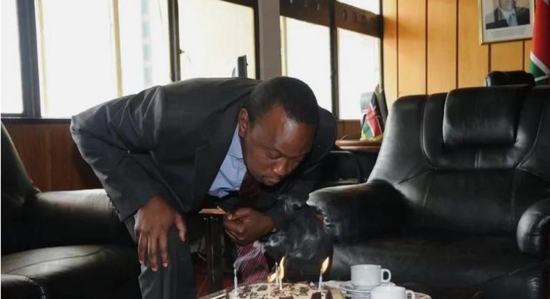 File image of President Uhuru Kenyatta celebrating his 55th birthday.October 26 2019 marked his 58th birthady
